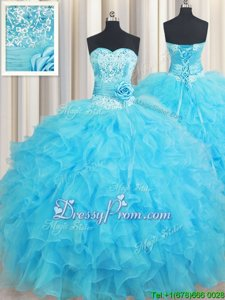 Custom Made Baby Blue Sleeveless Floor Length Beading and Ruffles and Hand Made Flower Lace Up Quinceanera Gown