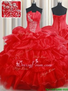 Fancy Beading and Pick Ups Ball Gown Prom Dress Red Lace Up Sleeveless Floor Length