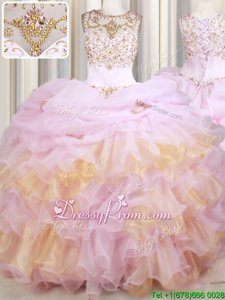 Suitable Sleeveless Court Train Lace Up With Train Beading and Ruffles and Pick Ups Quinceanera Gowns