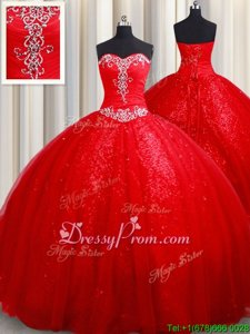 Pretty Sleeveless Lace Up Beading Quinceanera Gown