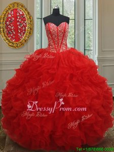 Fashion Red Sweetheart Lace Up Beading and Ruffles Quince Ball Gowns Sleeveless