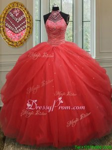 Red Halter Top Neckline Beading and Pick Ups Sweet 16 Quinceanera Dress Sleeveless Lace Up