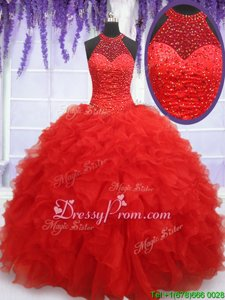Artistic Halter Top Sleeveless Sweet 16 Dresses Floor Length Beading and Ruffles Red Organza