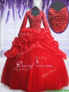 Low Price Ball Gowns Sweet 16 Dress Red Sweetheart Organza and Tulle Long Sleeves Floor Length Zipper