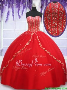 Delicate Ball Gowns Quinceanera Dress Red Sweetheart Tulle Sleeveless Floor Length Lace Up