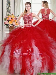 Fabulous White and Red Tulle Zipper Quinceanera Dress Sleeveless Floor Length Beading and Ruffles