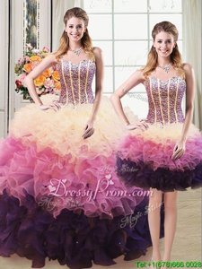 Floor Length Lace Up Quinceanera Gowns Multi-color and In forMilitary Ball and Sweet 16 and Quinceanera withBeading and Ruffles