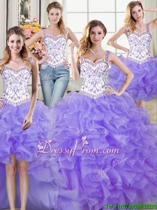 Exceptional Lavender Lace Up Straps Beading and Lace and Ruffles Quinceanera Gowns Organza Sleeveless
