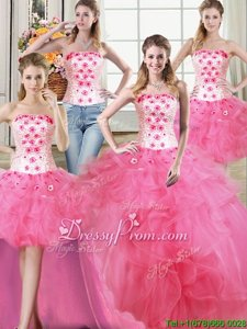 Best Selling Hot Pink Sleeveless Beading and Appliques and Ruffles Floor Length 15 Quinceanera Dress