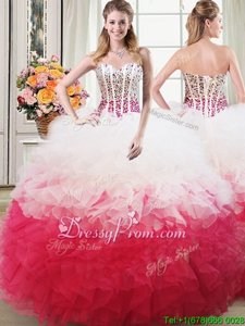 Customized Sweetheart Sleeveless Lace Up Quinceanera Gown White and Red Organza