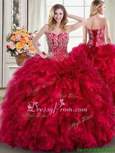 Exquisite Beading and Ruffles Sweet 16 Quinceanera Dress Red Lace Up Sleeveless Brush Train