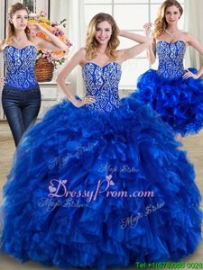 Custom Designed Royal Blue Vestidos de Quinceanera Sweetheart Sleeveless Brush Train Lace Up