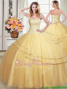 Nice Gold Sweetheart Neckline Beading and Sequins Sweet 16 Dress Sleeveless Lace Up