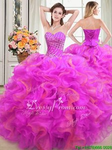 Amazing Multi-color Sleeveless Floor Length Beading and Ruffles Lace Up Quinceanera Gowns