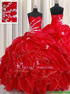 Organza Sweetheart Sleeveless Lace Up Beading and Ruffles and Pick Ups Vestidos de Quinceanera inRed
