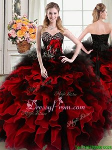 Enchanting Floor Length Black and Red Ball Gown Prom Dress Organza and Tulle Sleeveless Spring and Summer and Fall and Winter Beading and Ruffles and Hand Made Flower