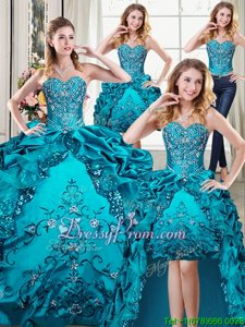 Trendy Sleeveless Floor Length Beading and Embroidery and Pick Ups Lace Up Vestidos de Quinceanera with Teal