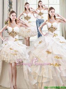 Designer Organza Sweetheart Sleeveless Lace Up Beading and Ruffles Quinceanera Gowns inWhite