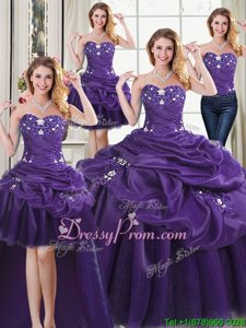 Edgy Beading and Appliques and Pick Ups Quinceanera Dress Purple Lace Up Sleeveless Floor Length