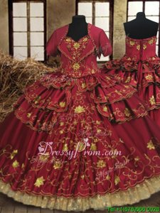 Superior Floor Length Lace Up Quinceanera Dress Wine Red and In forMilitary Ball and Sweet 16 and Quinceanera withBeading and Embroidery and Ruffled Layers