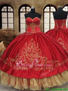 Gorgeous Wine Red and Gold Ball Gowns Organza and Taffeta Sweetheart Sleeveless Beading and Embroidery Floor Length Lace Up 15 Quinceanera Dress
