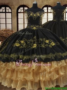 Admirable Black and Gold Off The Shoulder Neckline Beading and Embroidery and Ruffled Layers Sweet 16 Dress Sleeveless Lace Up