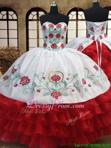 Dramatic Organza Sweetheart Sleeveless Lace Up Embroidery and Ruffled Layers Quinceanera Dress inWhite and Red