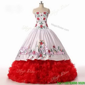Custom Designed Sweetheart Sleeveless Sweet 16 Dress Floor Length Embroidery and Ruffled Layers White and Red Organza
