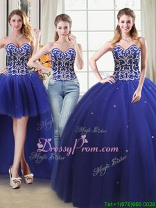Free and Easy Royal Blue Ball Gown Prom Dress Military Ball and Sweet 16 and Quinceanera and For withBeading Sweetheart Sleeveless Lace Up