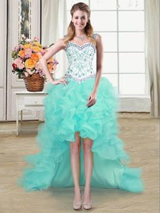 Amazing Aqua Blue Ball Gowns Straps Sleeveless Organza High Low Lace Up Beading and Ruffles Prom Evening Gown