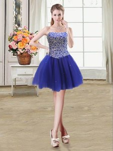 Colorful Strapless Sleeveless Lace Up Royal Blue Tulle