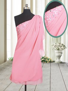 Perfect One Shoulder Side Zipper Prom Gown Rose Pink and In for Prom and Party with Beading