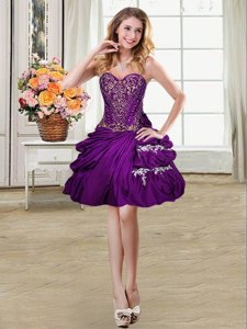 Dynamic Mini Length Lace Up Prom Gown Purple and In for Prom and Party with Beading and Appliques and Pick Ups