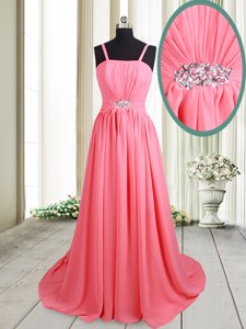 Straps Straps Empire Sleeveless Pink Prom Evening Gown Brush Train Lace Up