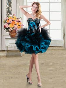 Blue And Black Column/Sheath Beading and Ruffles and Hand Made Flower Prom Party Dress Lace Up Organza and Tulle Sleeveless Mini Length