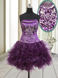 A-line Dress for Prom Dark Purple Strapless Organza Sleeveless Mini Length Lace Up