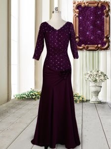 Clearance Half Sleeves Prom Gown Floor Length Beading and Lace and Hand Made Flower Dark Purple Elastic Woven Satin
