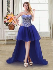 Extravagant Beading Dress for Prom Royal Blue Lace Up Sleeveless High Low