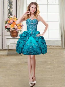Custom Design Mini Length Teal Prom Party Dress Organza and Taffeta Sleeveless Beading and Embroidery and Pick Ups