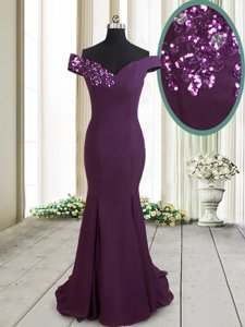 Mermaid Off the Shoulder Dark Purple Dress for Prom Chiffon Brush Train Sleeveless Beading and Sequins