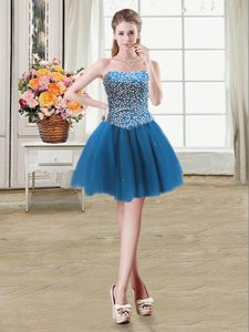 Hot Selling Beading Prom Dresses Teal Lace Up Sleeveless Mini Length