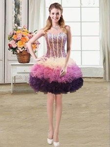 Fantastic Mermaid Multi-color Sweetheart Neckline Beading and Ruffles Prom Evening Gown Sleeveless Lace Up
