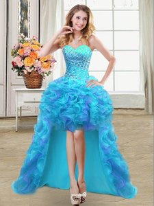 Sweetheart Sleeveless Prom Party Dress High Low Beading and Ruffles Aqua Blue Organza
