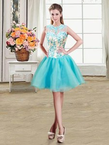 See Through Organza Scoop Sleeveless Zipper Beading Evening Dress in Aqua Blue