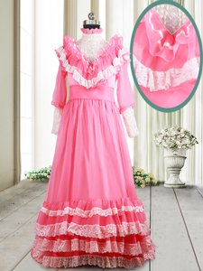 Hot Sale Ruffled Pink Long Sleeves Chiffon Brush Train Zipper Prom Gown for Prom