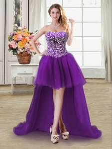 Perfect Purple Sleeveless Beading High Low