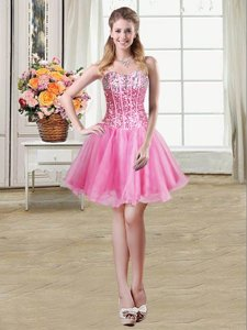Custom Designed Rose Pink Ball Gowns Sweetheart Sleeveless Organza Mini Length Lace Up Sequins Prom Dress