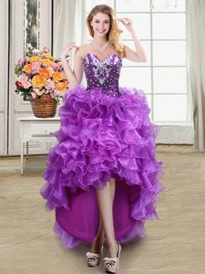 Purple Lace Up Prom Dresses Beading and Ruffles Sleeveless High Low