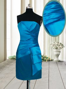 Admirable Teal Sleeveless Ruching Mini Length Prom Party Dress