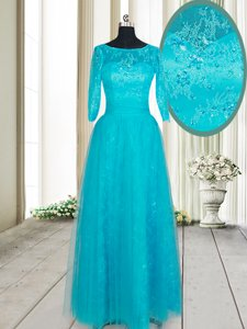 High Quality Scoop Teal Half Sleeves Tulle Zipper Prom Dresses for Prom